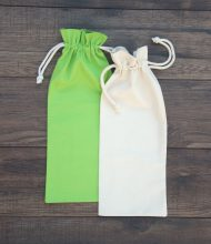Cotton pouches for wine of 280 g/m2 grammage, natural and lime, laces 5 mm thick