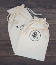 Cotton pouches Standard of145 g/m2 grammage, laces of 5 mm width, Pantone screenprinting with plastistol dyes