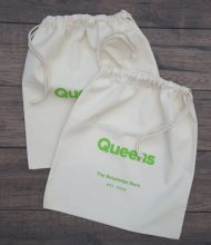 Cotton pouches Standard of 280 g/m2 grammage, laces 5 mm thick, Pantone screen printing with plastisol dyes
